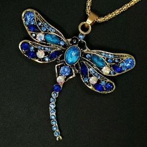 Gorgeous Blue Dragonfly Sweater Necklace